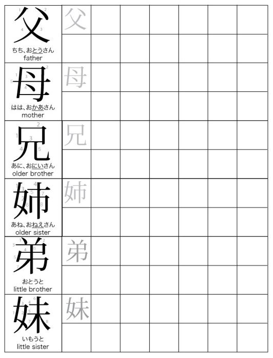 Family Members Japanese with Garrett sensei – Kanji Worksheets